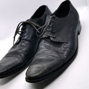 Mens Black Shoes Dress suit shoes leather made in Italy sz 43